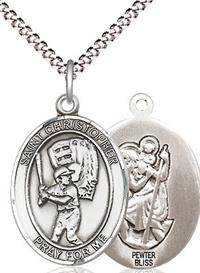 "Baseball / St. Christopher Medal in Fine Pewter, 3/4"", Your Choice of Chain # 17487"