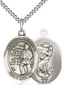 "Karate / St. Christopher Medal in Fine Pewter, 3/4"", Your Choice of Chain # 17495"