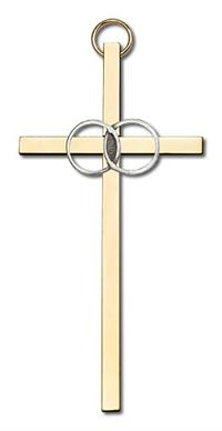 "4"" Wedding Cross, Silver-Tone Rings on Polished Brass Cross, # 1775"