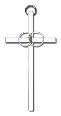 "4"" Wedding Cross, Silver-Tone Rings on Nickel Plated Cross, # 1779"