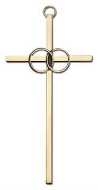 "6"" Wedding Cross, Gold-Tone Rings on Polished Brass Cross, # 1783"