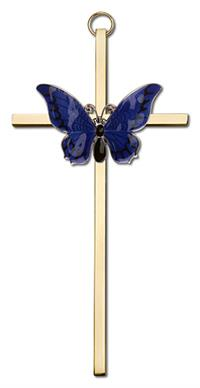 "6"" Resurrection Blue Butterfly Cross, Silver-Tone on Gold Plated Cross, # 1801"