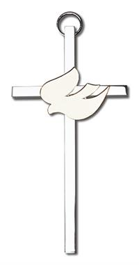 "4"" White Dove Cross, Gold-Tone on Nickel Plated Cross, # 1814"