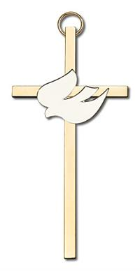 "4"" White Dove Cross, Gold-Tone on Polished Brass Cross, # 1816"