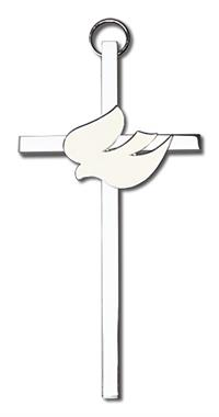 "4"" White Dove Cross, Silver-Tone on Nickel Plated Cross, # 1817"