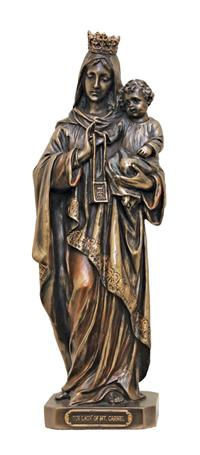 "10"" Our Lady of Mount Carmel Statue, Cold Cast Bronze, # 1988"
