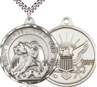 "St. Michael / Navy Medal, Sterling Silver, 1-1/4"" dia., Your Choice of Chain, # 2007"