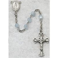 3mm Blue Glass Children's Rosary, Sterling Crucifix and Center, # 20106