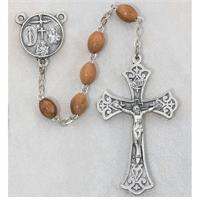 5x7mm Olive Wood Rosary, Pewter Crucifix & Center, # 20233