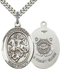 "St. George / Coast Guard Medal, 1"" tall, Sterling Silver, Your Choice of Chain, # 2383"