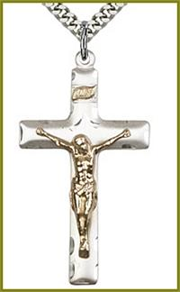 "1-5/8"" Gold Filled on Sterling Silver Crucifix, Your Choice of Chain, # 23974"