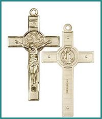 "1-3/4"" St. Benedict Crucifix, Solid 14kt Gold, Free Chain, # 24014"