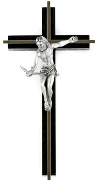 "10"" Gift of the Spirit Crucifix, Fine Pewter, Black Wood, Nickel Inlay, # 24196"