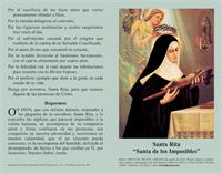Oracion a Santa Rita: Spanish Prayercard (Pack of 100), # 2509