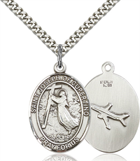 "1""x3/4"" Sterling Silver St. Joseph of Cupertino Medal, Your Choice of Chain, # 26042"