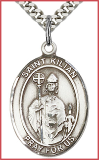 "1""x3/4"" Sterling Silver St. Kilian Medal, Your Choice of Chain, # 26049"