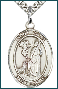 "Sterling Silver Medal, 1"" x 3/4"", St. Roch, Your Choice of Chain, # 26093"