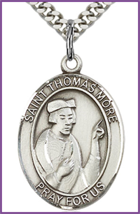 "Sterling Silver Medal, 1""x3/4"", St. Thomas More, Your Choice of Chain, # 26212"