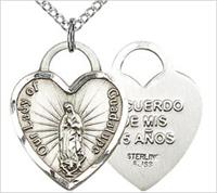 "Quinceanera / OL Guadalupe Medal, Sterling Silver, 3/4"", Your Choice of Chain, # 26221"