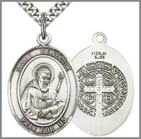 "St. Benedict Medal, Sterling Silver, 1""x3/4"", Your Choice of Chain, # 26255"