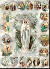 "19"" x 27"" Poster of the Rosary, Italian gold embossed, #, 28"