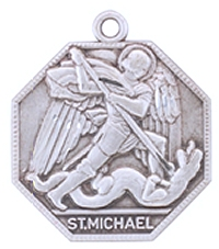 "Sterling Silver St. Michael Medal, 1"", Your choice of chain, # 29468"