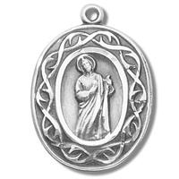 "Sterling St. Jude Crown of Thorns Medal, 7/8"", Your choice of chain, # 29493"