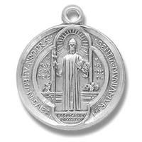 "Sterling Silver St. Benedict Medal, 7/8"" overall, Your choice of chain, # 29495"