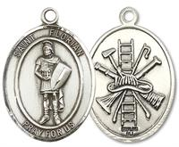 "St. Florian Fire Fighters Medal, 1"" tall, Sterling Silver, Your Choice of Chain, # 3067"