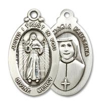 "Divine Mercy Medal in Fine Pewter, 1-1/16"", Your Choice of Chain, # 3384"