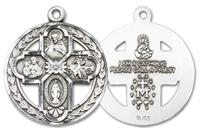 "Round 4-Way Medal in Fine Pewter, 1-1/16"", Your Choice of Chain, # 3439"