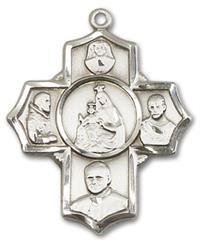 "Polish 5-way Medal in Fine Pewter, 1"", Your Choice of Chain, # 3482"