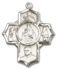 "Carmelite 5-way Medal in Fine Pewter, 1"", Your Choice of Chain, # 3485"