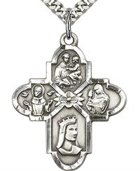 "Franciscan 4-way Medal in Fine Pewter, 1-1/8"", Your Choice of Chain 3507"