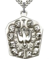"12 Apostles Necklace in Fine Pewter, 1-1/8"" tall, Your Choice of Chain, # 3689"