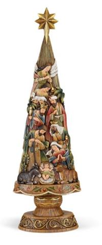 "30"" Nativity Christmas Tree Figurine, Resin, # 3832"
