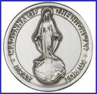 "Visor Clip, Silver Oxide Finish, Our Lady of the Highway, 1-7/8"", 41380"
