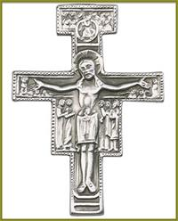 "Visor Clip, Silver Oxide Finish, San Damiano Cross, 1-7/8"" tall, 41381"