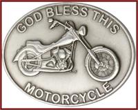 "Visor Clip, Silver Oxide Finish, God Bless This Motorcycle, 1-7/8"" wide, # 41385"
