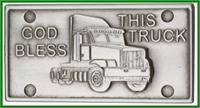 "Visor Clip, Silver Oxide Finish, God Bless This Truck, 2"" wide, # 41386"