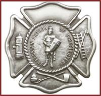"Visor Clip, Silver Oxide Finish, St. Florian / Firefighters, 1-3/4"", # 41390"