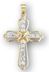 "1"" 14Kt. Gold Over Sterling Crystal Zircon Cross Pendant, Your Choice of Chain # 41821."