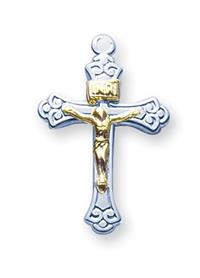 "11/16"" Sterling Silver & Gold Plate Crucifix, Your choice of Chain # 41970"