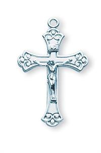 "1"" Polished Crucifix, Sterling Silver, Your Choice of Chain, # 41974"