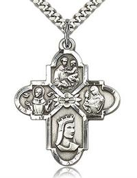 "Franciscan 4-Way Medal 1-1/8"" Sterling Silver, Your Choice of Chain, # 63716"