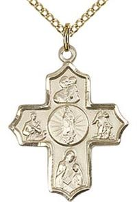 "Guadalupe 4-Way Medal 7/8"" 14kt Gold Filled, Your Choice of Chain # 43439"