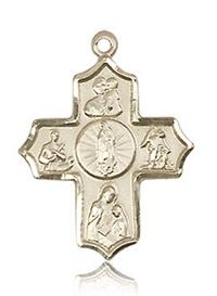"Guadalupe 4-Way Medal 7/8"" Solid 14kt Gold, Free Chain, # 43440"