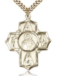 "Scapular Five - Way Medal 1-3/16"" 14kt Gold Filled, your choice of chain # 43453"