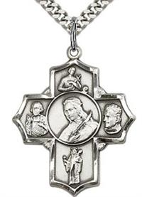 "St. Philomena Five - Way Medal 1-1/8"" Sterling Silver, your choice of chain # 43458"