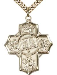 "Gospel Five - Way Medal 1-3/16"" 14kt Gold Filled, your choice of chain # 43466"